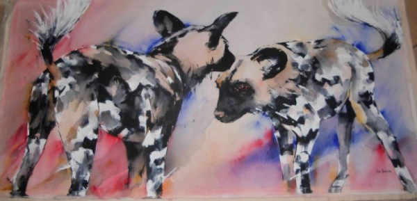 Snare and her Brother...painting by Lin Barrie