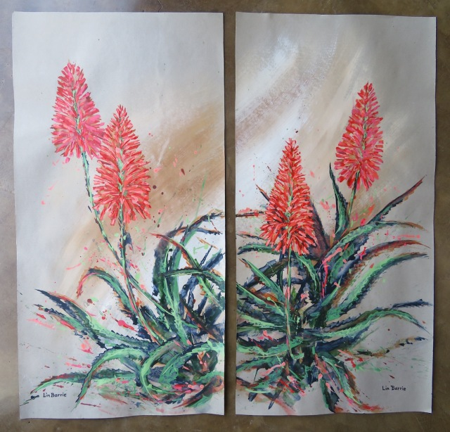 Aloe arborescens (diptych), acrylic on craft paper, each panel 91 X 45 cm lo res.jpg