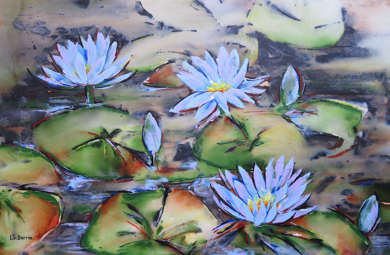 Blue waterlilies, acrylic on stretched canvas, 2 x 3 feet lo res.jpg