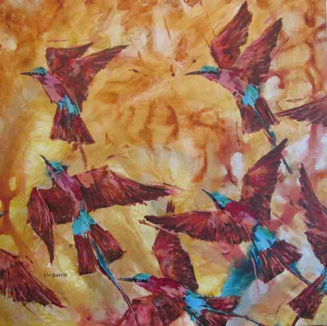 Carmine Season - acrylic on stretched canvas - 90 x 90 cm