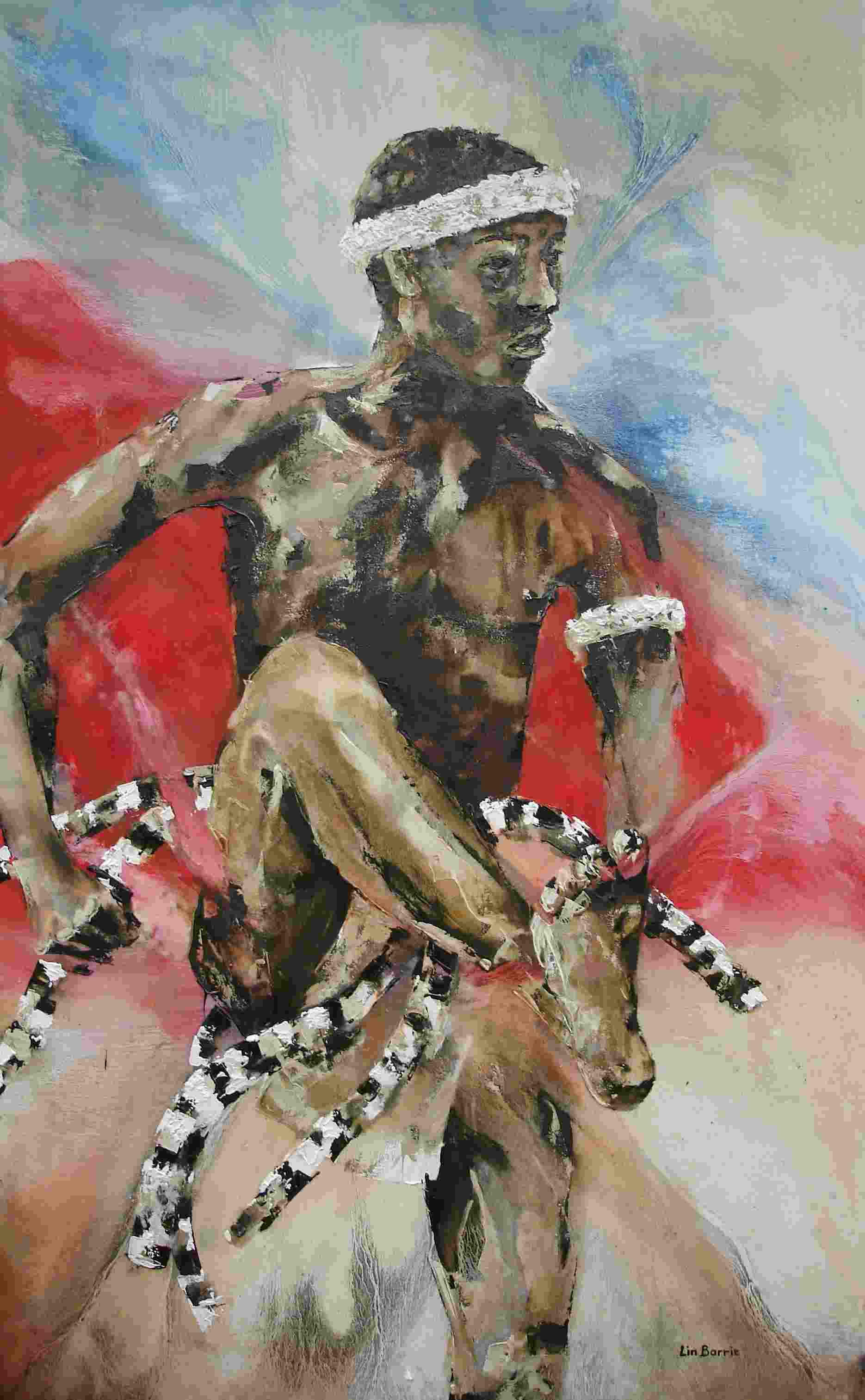 Changana man- oil painting on canvas by Lin Barrie lo res