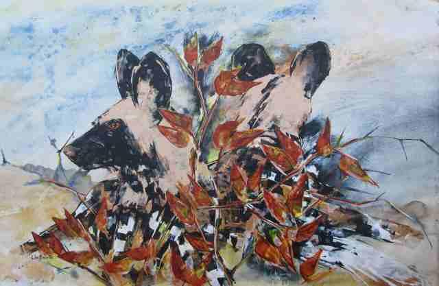 Dogs in Mopani 2, acrylic on loose canvas, 70 x 105 cm