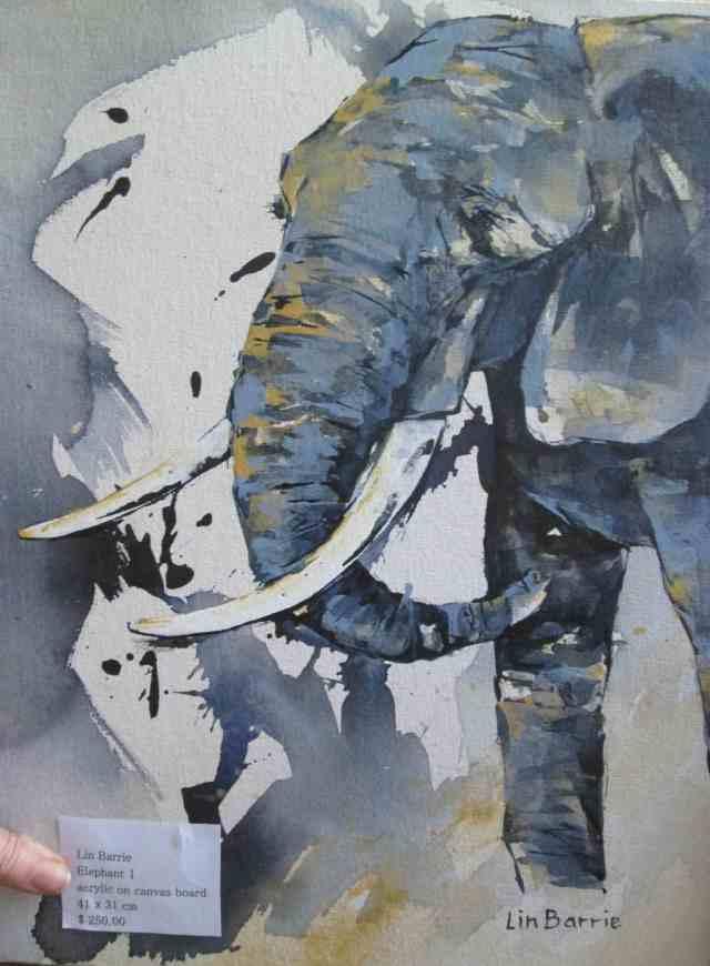 elephant 1, acrylic on canvas board,A3, 41 x 31 cm
