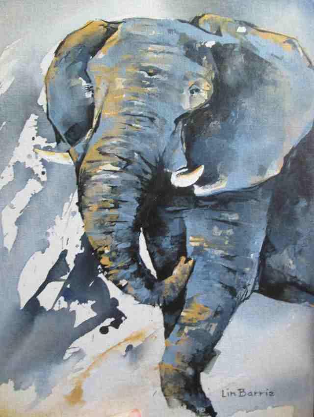elephant 2, acrylic on canvas board,A3, 41 x 31 cm