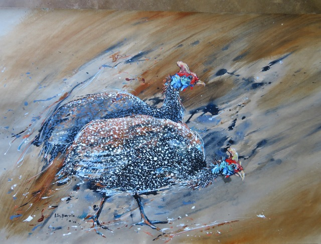 Guinea fowls , acrylic on craft paper, 65 x 91 cm lo res.jpg