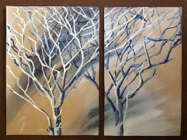 Acacia diptych Acrylic on craft paper Unframed 64 x 46 panel 1 64 x 39 panel 2