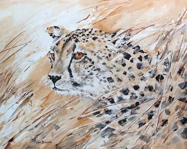 Cheetah acrylic on canvas board 41 x 51 cm (16 x 20 in