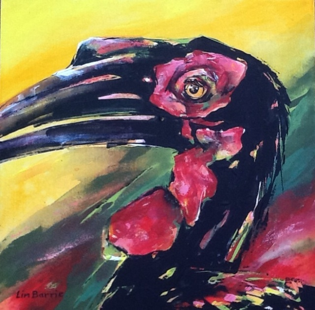 Zimbabwe Bird! Acrylic on stretched canvas 44 x 44 cm