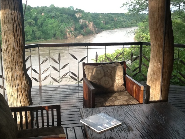 The view upstream from the bar lounge...