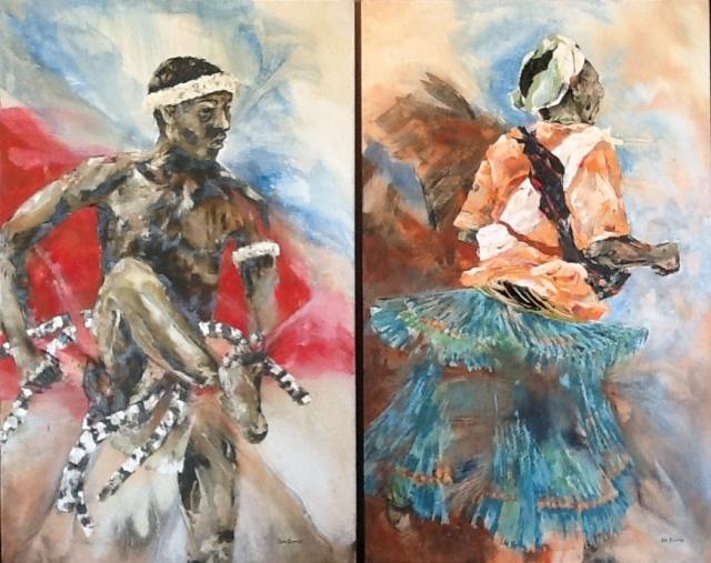 MaChangana dancers-oil paintings by Lin Barrie