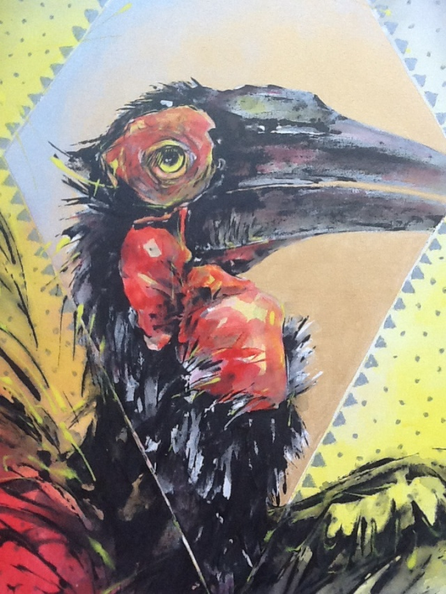 Hornbill and Diamond Acrylic on stretched canvas 120 x 80 cm