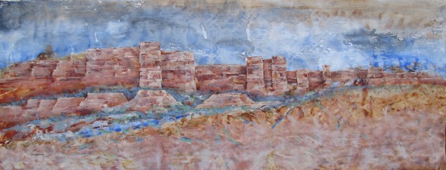 Mirage, Chilojo Cliffs, acrylic on loose canvas, 79 x 206 cm