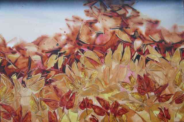 Mopani leaf butterflies 1, Acrylic on stretched canvas, 61 x 91 cm