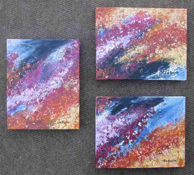 Msasa abstract 1,2 and 3, acrylic on deep stretched canvas, each pain ting is 23 x 30 cm