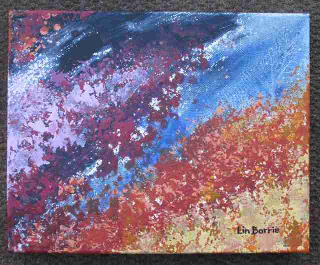 Msasa abstract 3, acrylic on deep stretched canvas, 23 x 30 cm