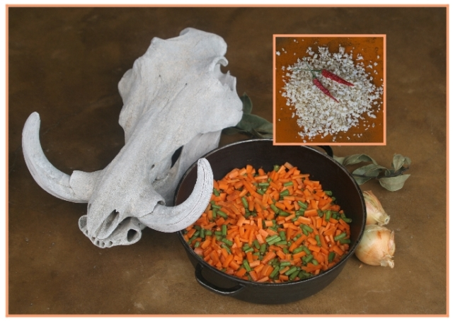ingredients for African curried green bean and carrot relish