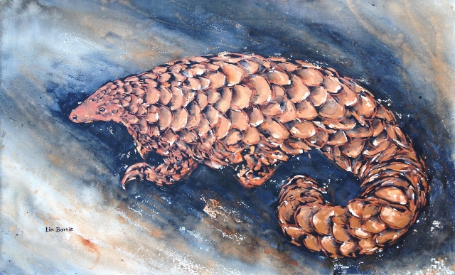 Rose Gold Pangolin, acrylic on loose canvas 57 X 93 cm lo res.jpg