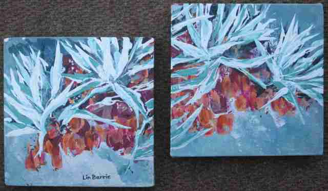 Terminalia sericea 1.....acrylic on stretched canvas (diptych), each panel 20 x 20 cm