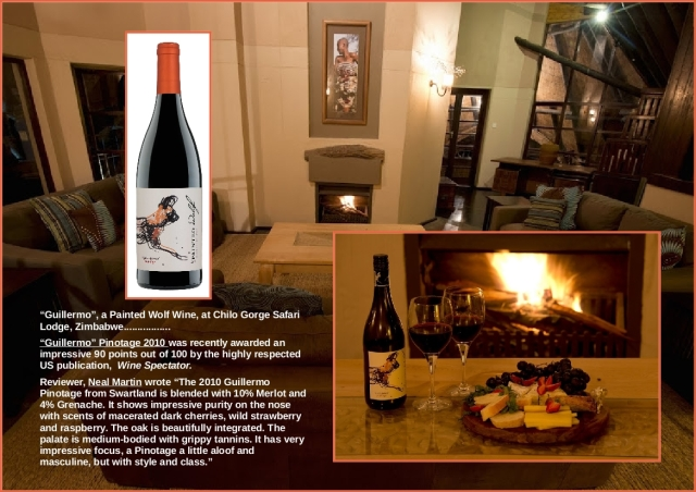 Guillermo pinotage  in the upstairs lounge at Chilo Gorge Safari Lodge