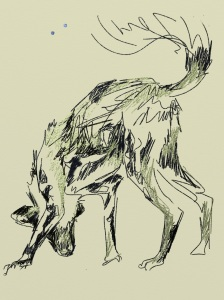 lin -sketch of wild dog done on chilo deck