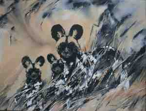 ORIGINAL IMAGE-Claw and her five month old pups-acrylic on stretched canvas..100 x 130 cm...lo res