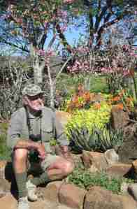 Arthur Barrie in his aloe rock garden ...