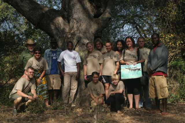 The Pedals 4 Paws team at the original chalkboard! The Mahenye School Tree...