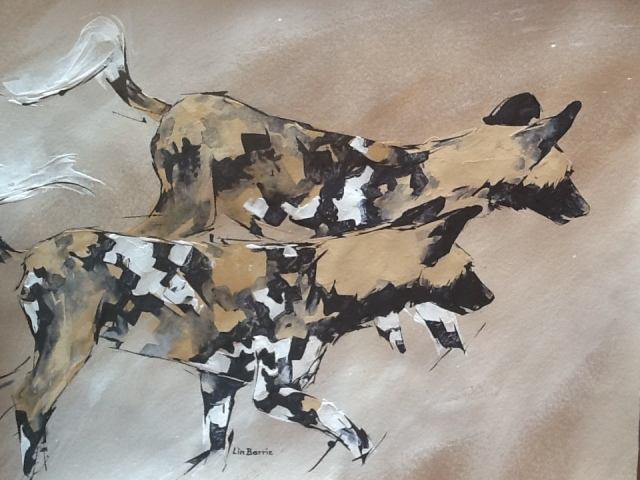 """Wild dogs!"" by Lin Barrie"