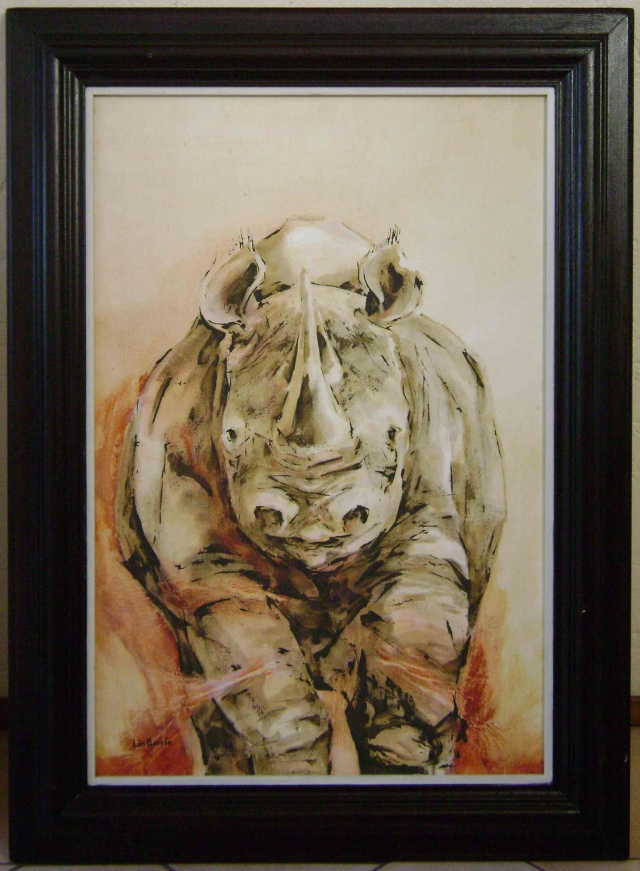 Black Rhino Oil on canvas About 100 x  80 cm