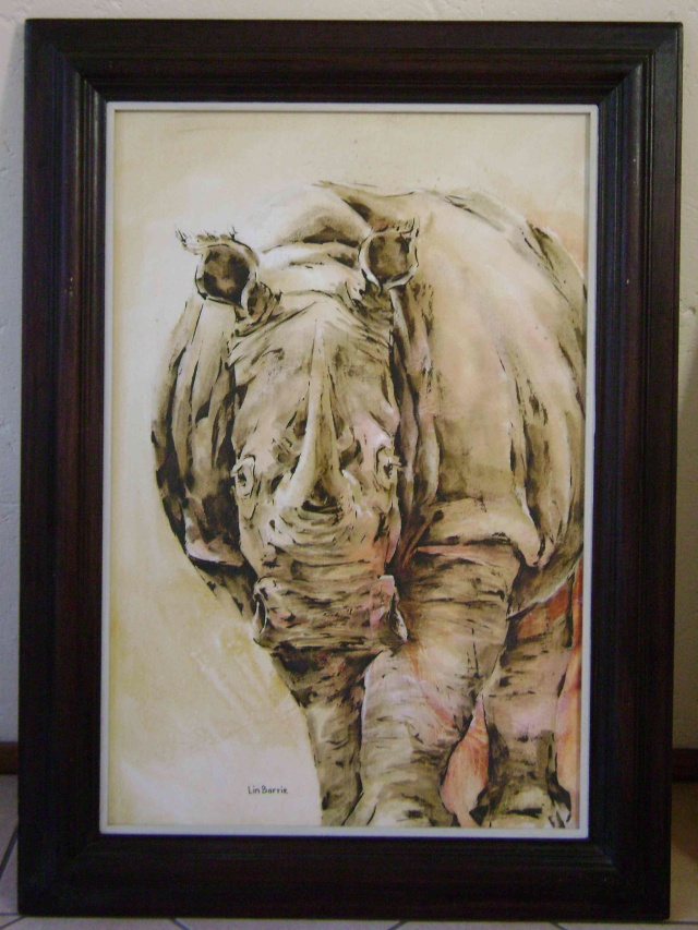 White Rhino Oil on canvas About 100 x  80 cm