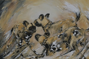 Snare and her brothers-original painting for Painted Wolf Wines and Tusk Trust