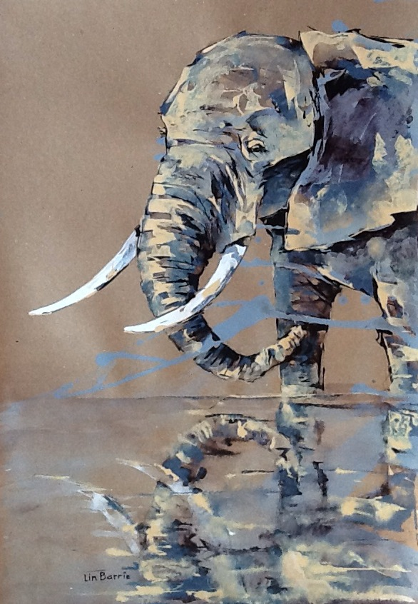 elephant reflections- a painting by Lin Barrie