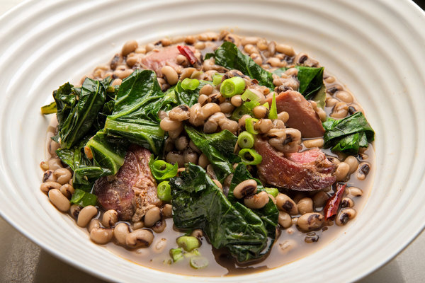 black eyed peas with ham hock and collards