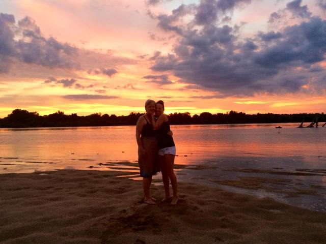 Lin and Kelli in the Chilo sunset