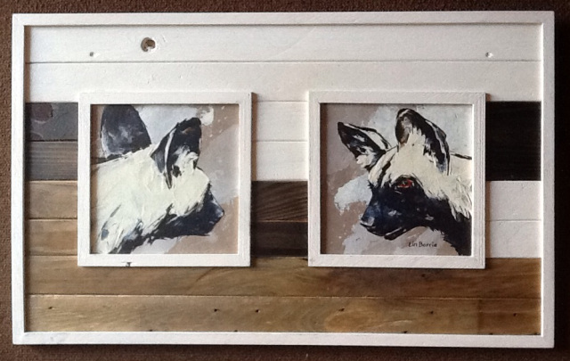Lin Barrie art in Pallet Wood frame