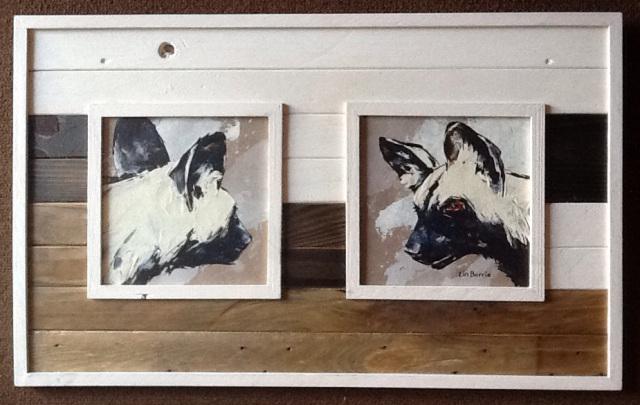 Lin Barrie art in Pallet Wood frame