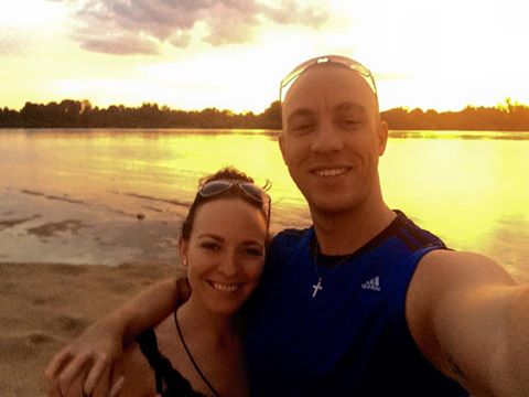 Anton and Kelli on the beach of the Save River at sunset....