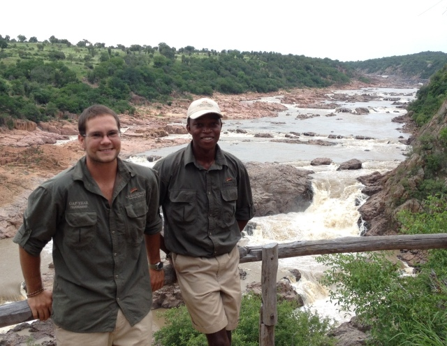 Lionel Muzengi and Ben Madden at Chivarira Falls