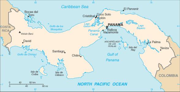 Panama canal map