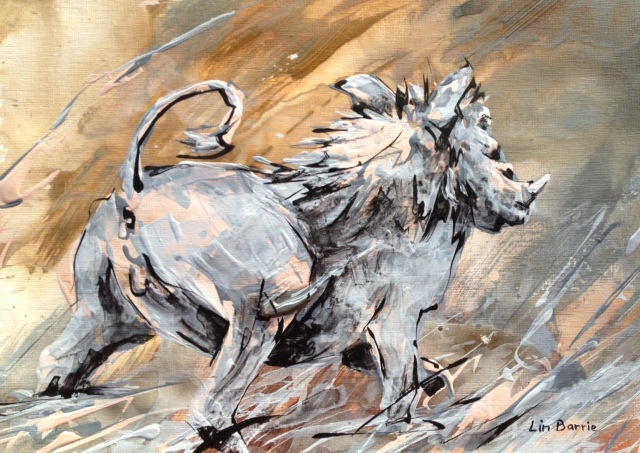 Mr. Warthog...acrylic painting by Lin Barrie
