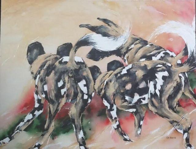 """""""Dog Dance"""" by Lin Barrie- acrylic on canvas, 100 x 130 cm"""