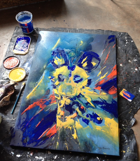Wild Dog Buddie painting- a start...