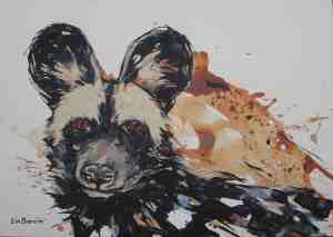 Dog in the Mud, acrylic on canvas paper A3  (29,5 cm x 42 cm)