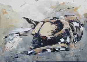 Dozing Dog acrylic on canvas paper A3  (29,5 cm x 42 cm)