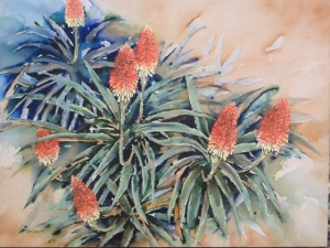 Aloe arborescens, acrylic on stretched canvas, 100 x 130 cm