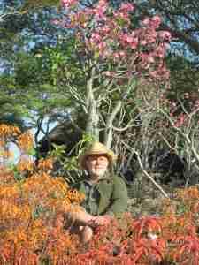 Clive bird-watching in the aloe garden...