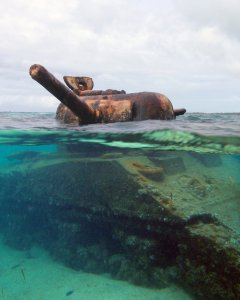 sherman tank on Saipan reef