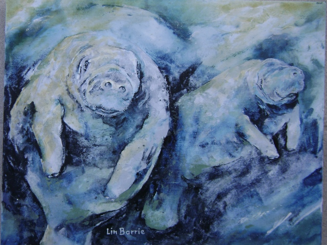 Manatee dance-oil on gallery wrap canvas-16 x 20 inches