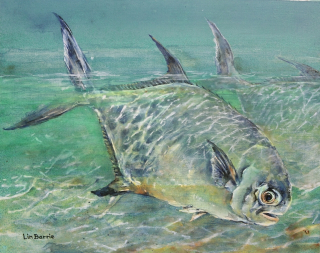 permit fish-15 x17 inches, acrylic by Lin Barrie