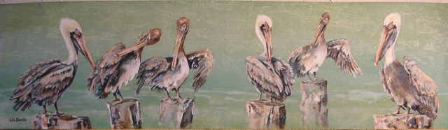 Early morning pelicans-giclee print on gallery wrapped canvas